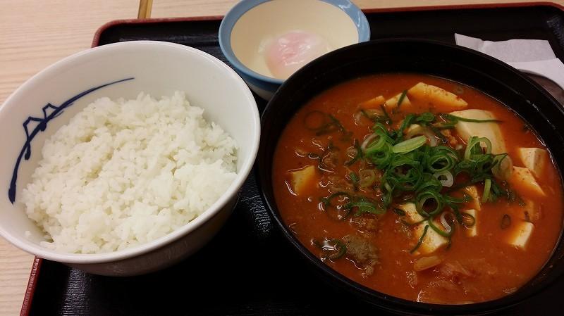 松屋 豆腐キムチチゲセット を食べてみました。