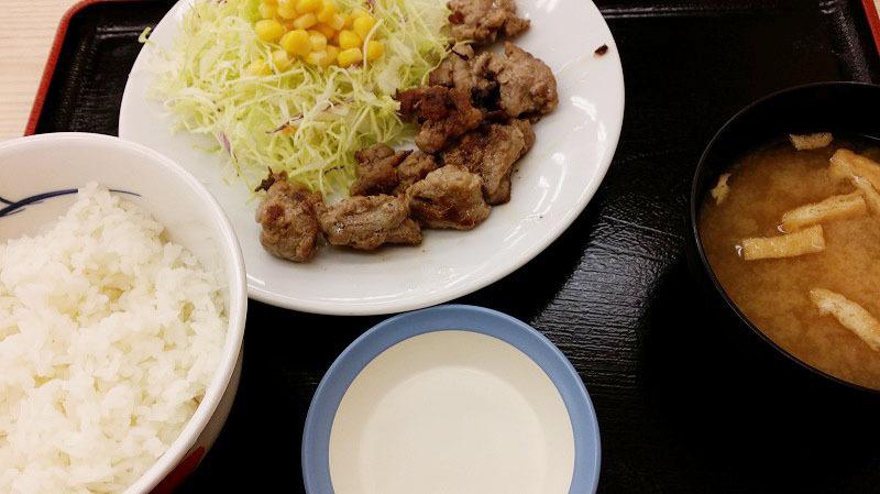 松屋 中落ちカルビ定食 を食べてみました。