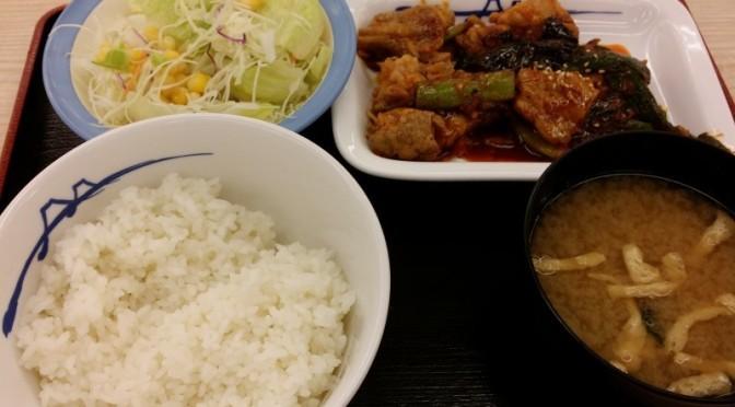 松屋 タッカルビ風鶏の甘辛味噌炒め定食を食べてみました。