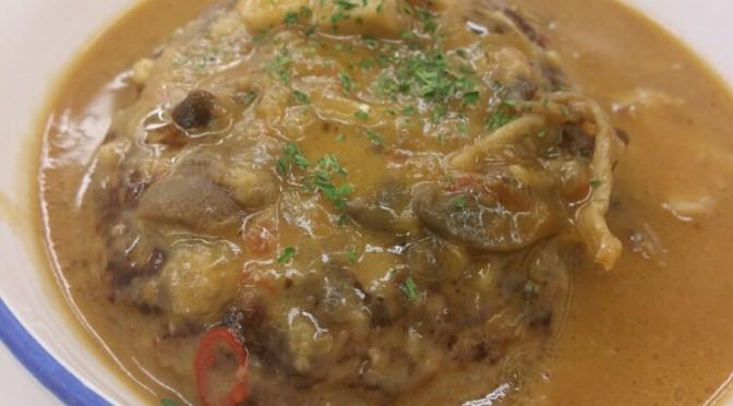 松屋 シャンピニオンソースハンバーグ定食を食べてみました。