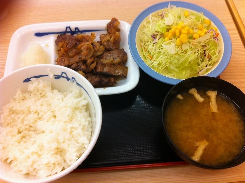 松屋 カルビ焼肉定食(30%増し)を食べてみました。