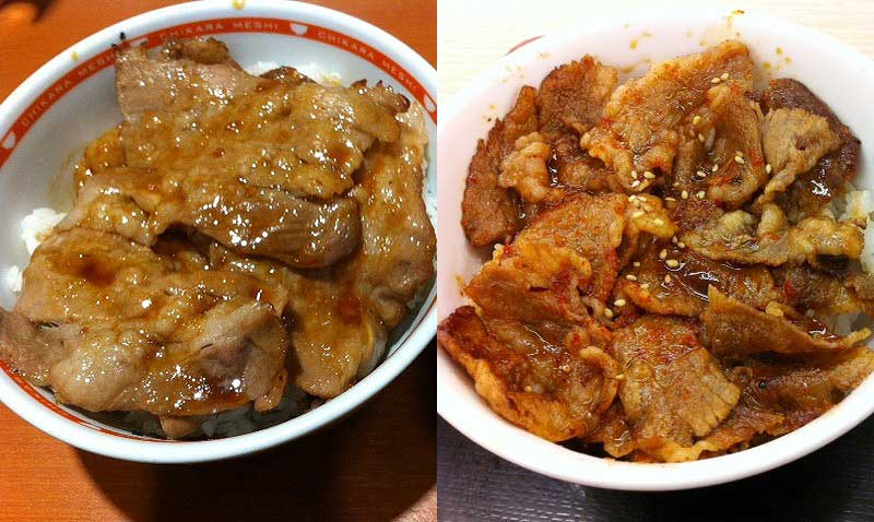 東京チカラめしと松屋の焼き牛丼を食べ比べてみました。
